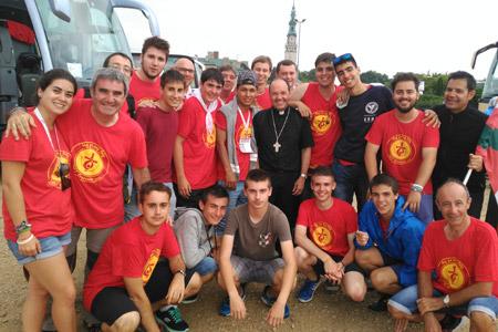 Juan Carlos Elizalde, obispo de Vitoria, peregrina con los jóvenes de la diócesis en la JMJ Cracovia 2016, celebración Czestochowa 25 julio
