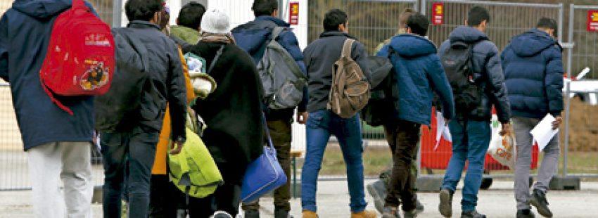 migrantes en un campo cerca de Múnich en Alemania