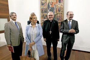 Ángel Pérez Pueyo, obispo de Barbastro-Monzón, con el presidente de Aragón, Javier Lambán