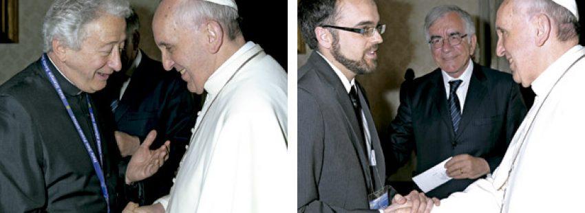 Antonio Pelayo y Darío Menor con el papa Francisco corresponsales de Vida Nueva