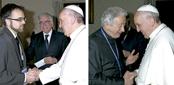 Darío Menor y Antonio Pelayo con el papa Francisco corresponsales de Vida Nueva