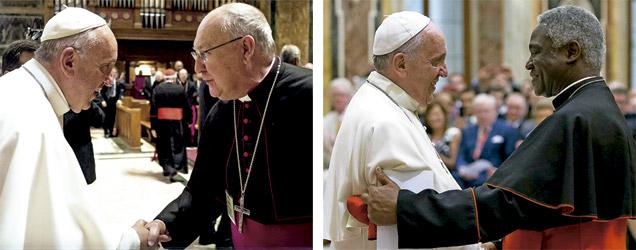 papa Francisco en dos imágenes con el obispo Kevin Farrell y el cardenal Peter Turkson