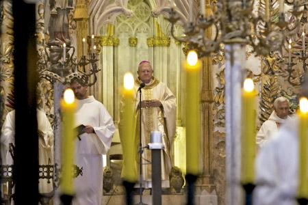 Javier Salinas en su última misa en la Catedral de Palma de Mallorca, tras su renuncia 10 septiembre 2016