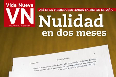 fragmento de la portada de Vida Nueva con el reportaje sobre las nulidades exprés 3004 septiembre 2016