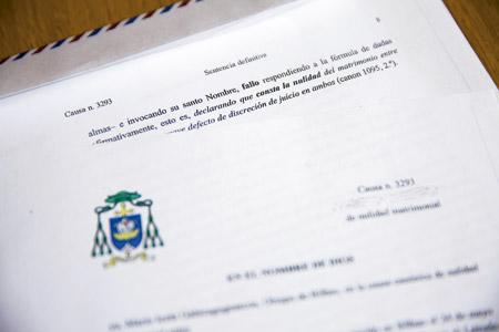 sentencia de nulidad matrimonial por la vía rápida, firmada en marzo de 2016 por el obispo de Bilbao, Mario Iceta, después de la reforma del proceso del papa Francisco