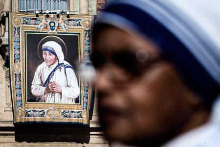 Tapiz que representa a santa Teresa de Calcuta