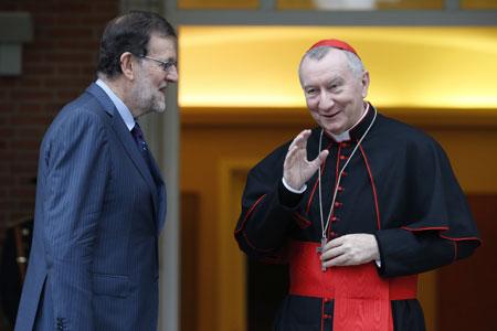 Mariano Rajoy, presidente del Gobierno en funciones, con el cardenal Pietro Parolin secretario de Estado vaticano 14 octubre 2016