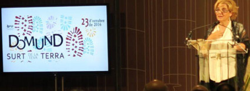 Pilar Rahola, periodista, durante el pregón del Domund 2016 en la Sagrada Familia de Barcelona 16 octubre 2016