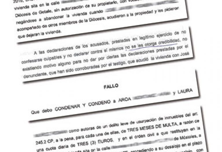 sentencia judicial que obliga a dos mujeres okupas a abandonar un piso de la Diócesis de Getafe julio 2016