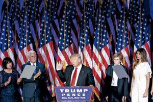 Donal Trump en la noche que se anunció su victoria como presidente de Estados Unidos 8 noviembre 2016