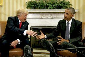 primer encuentro entre Donal Trump y Barack Obama en la Casa Blanca después de la victoria del republicano