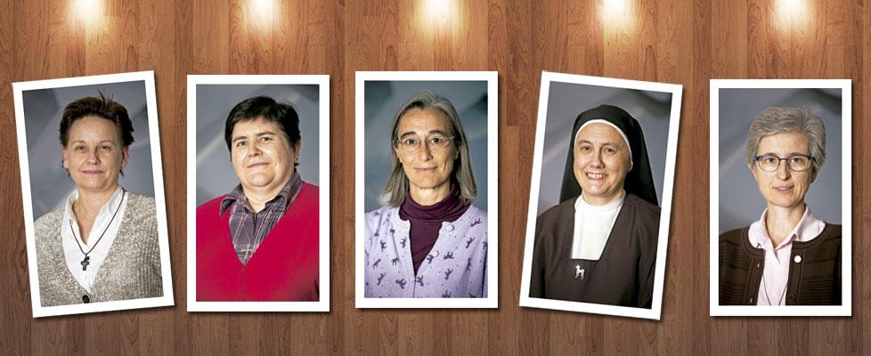 cinco religiosas superioras generales provinciales o responsables de congregaciones religiosas en España