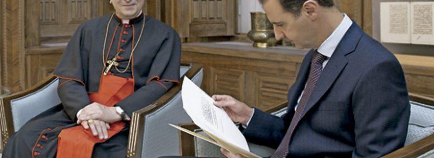 cardenal Mario Zenari con Bashar al-Ásad presidente de Siria diciembre 2016