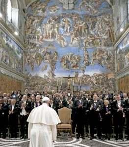 papa Francisco dirige discurso al Cuerpo Diplomático acreditado ante la Santa Sede 9 enero 2017 Sala Regia Vaticano