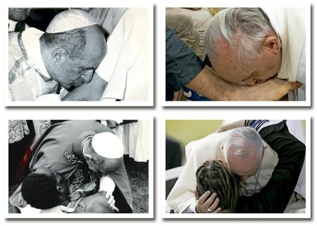 imágenes de Pablo VI y de Francisco besando pies y abrazando a personas