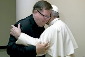papa Francisco y Gérald Cyprien Lacroix, cardenal de Quebec Canadá