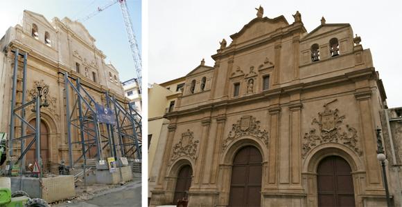 iglesia en Lorca antes y después de la rehabilitación tras el terremoto de 2011