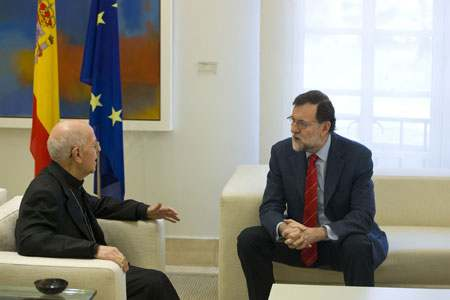 cardenal Ricardo Blázquez presidente de la CEE con el presidente del Gobierno Mariano Rajoy 7 marzo 2017