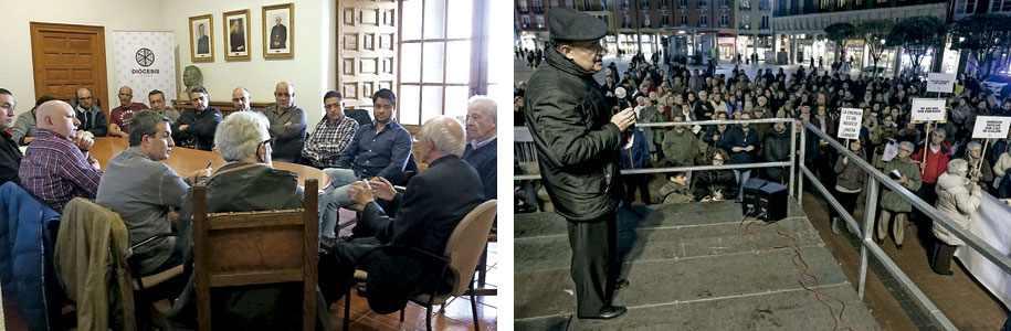 Jesús García Burillo obispo de Ávila con el Comité de Empresa de Nissan y Fidel Herráez arzobispo de Burgos en una manifestación contra la pobreza energética
