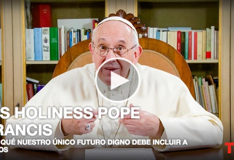 pantallazo vídeo del papa Francisco en la charla TED 2017 abril 2017