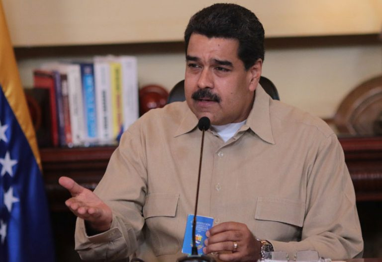 El presidente de Venezuela, Nicolás Maduro, en una denuncia de golpe de Estado el 18 de abril de 2017