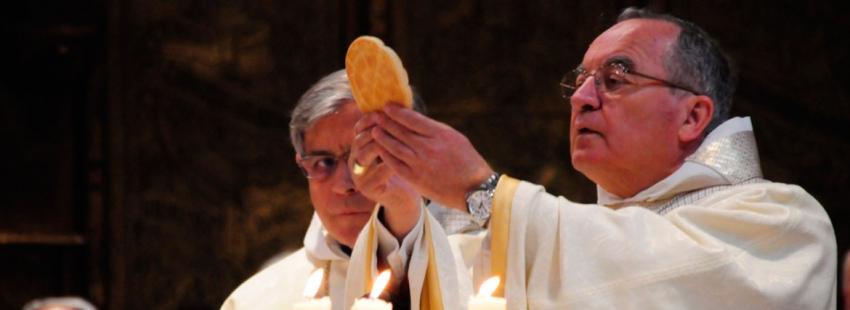 El arzobispo de Tarragona, Jaume Pujol en la abadía de Montserrat por la festividad de la patrona de Cataluña 27 de abril de 2017
