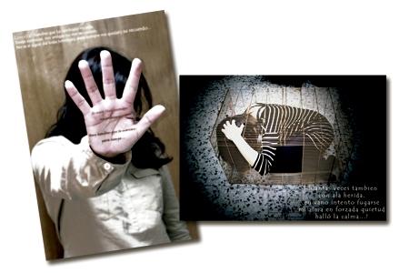 dos carteles de la Fundación Luz Casanova contra la violencia de género