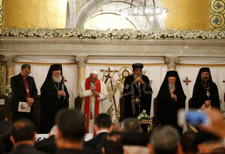 papa Francisco visita a Tawadros II, Patriarca de Alejandría de los Coptos, El Cairo viaje apostólico 28 abril 2017