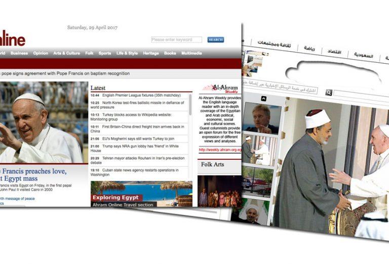 periódicos online en Egipto informan de la visita del papa Francisco 28-29 abril 2017
