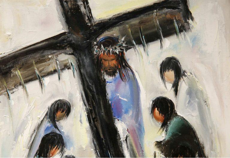 cuadro Jesús llevando la cruz se encuentra con mujeres durante el vía crucis