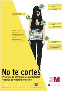 cartel de la Comunidad de Madrid para la campaña No te cortes contra la violencia de género prevención chicas jóvenes