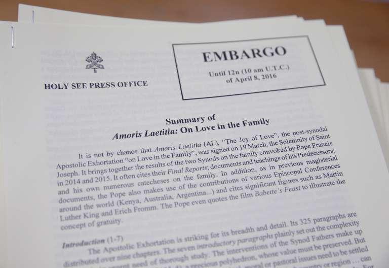 Imagen del texto embargado de la exhortación Amoris Laetitia
