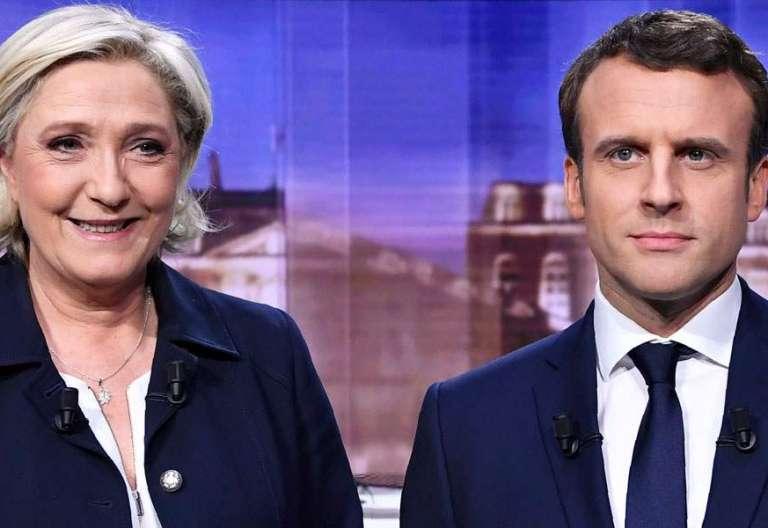Debate televisico entre Marine Le Pen y Emmanuel Macron