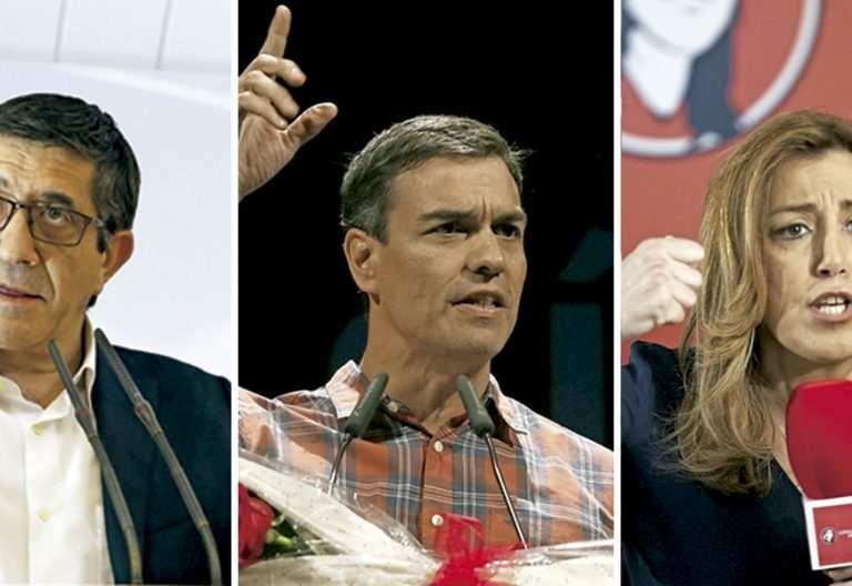 Patxi López, Pedro Sánchez y Susana Díaz candidatos socialistas a las primarias secretario general PSOE 2017