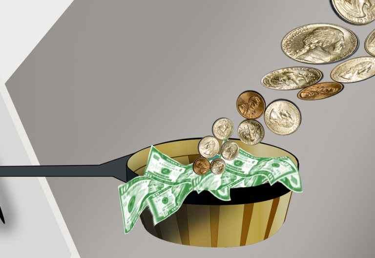 ilustración de recaudación de dinero en un cestillo billetes y monedas
