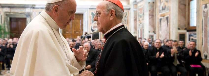 papa Francisco cardenal Ricardo Blázquez presidente Conferencia Episcopal Española audiencia 125 años Pontificio Colegio Español de Roma marzo 2017