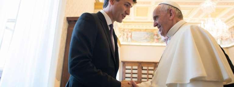 papa Francisco con Justin Trudeau primer ministro de Canadá 29 mayo 2017