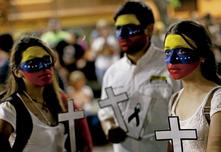 católicos en Venezuela en una protesta contra el Gobierno