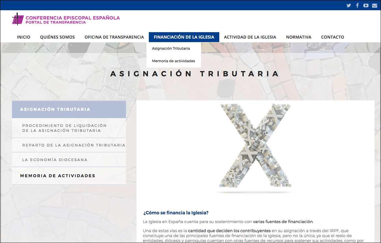 captura de pantalla de la nueva web del portal de transparencia de la Conferencia Episcopal Española CEE