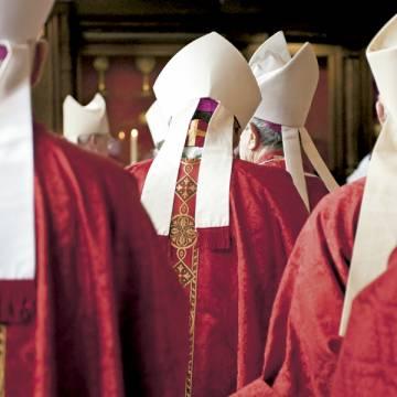 obispos revestidos con mitras de espaldas antes de una celebración