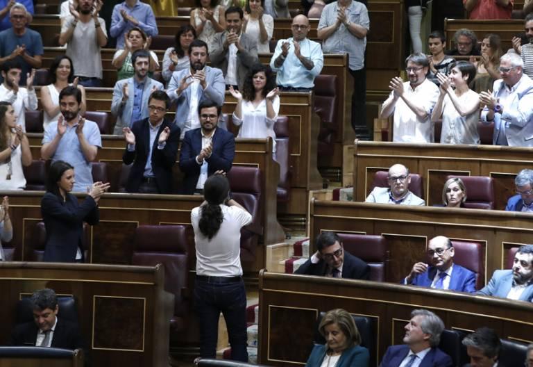 Pablo Iglesias y Podemos en el Congreso moción de censura contra Mariano Rajoy junio 2017