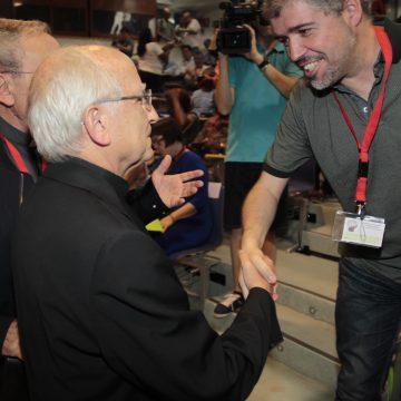 El obispo de Ávila, Jesús García Burillo, junto al secretario general de Comisiones Obreras, Unai Sordo 15 julio 2017