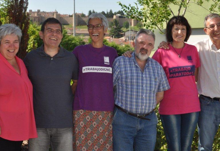 Los responsables de Formación, Difusión y Presidencia (segundo, tercero y cuarto por la izquierda) de la HOAC tras su elección en Ávila el 8 de julio de 2017