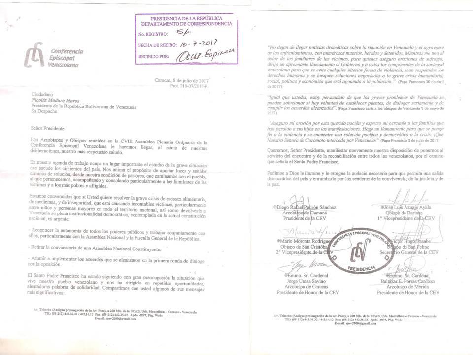 Carta de los obispos de Venezuela a Nicolás Maduro solicitando que retire la Asamblea Constituyente el 10 de julio de 2017