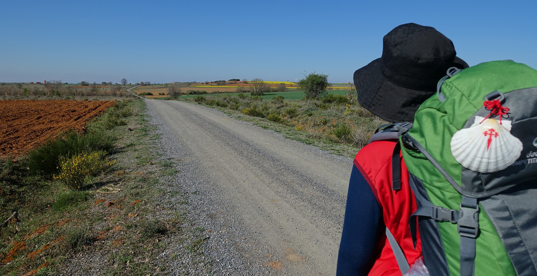 peregrino camino de Santiago con mochila y concha de vieira