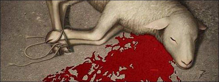 fragmento de Cordero de Dios pintura obra de Jonathan Mayer