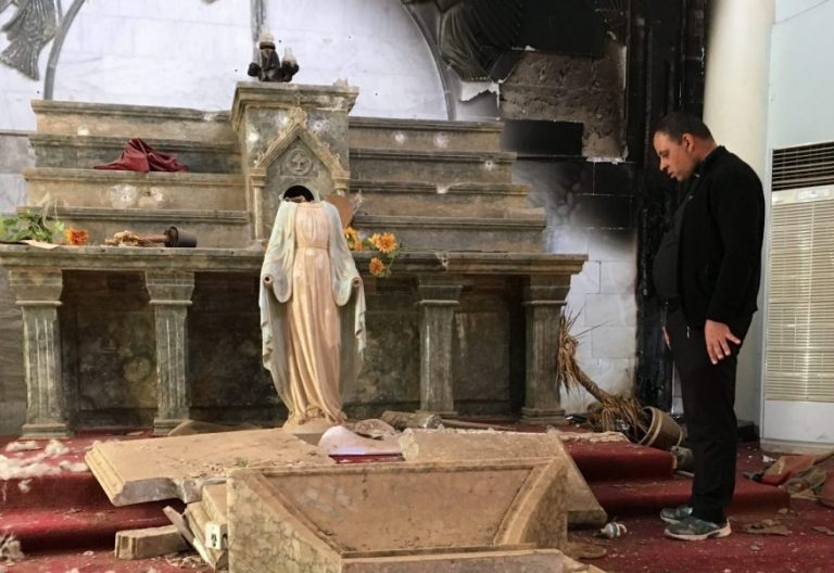 Iglesia católica destruida por el ISIS en Irbil(Irak)/CNS
