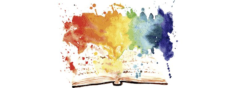 ilustración libro abierto del que sale explosión de colores en acuarela