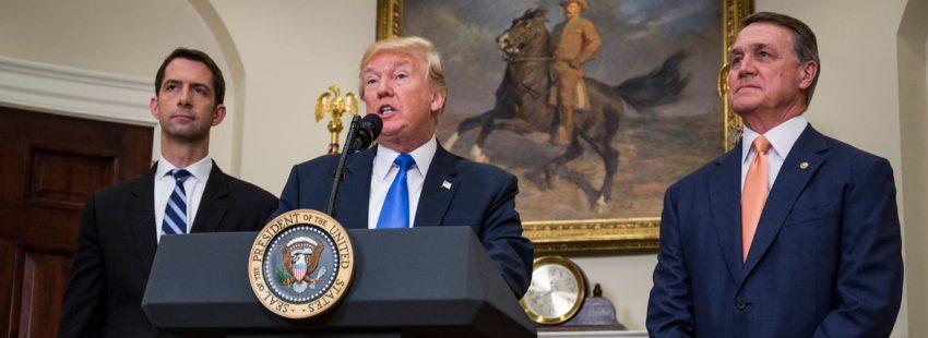 El presidente de Estados Unidos, Donald Trump, anuncia el proyecto de ley de inmigración 2 de agosto de 2017