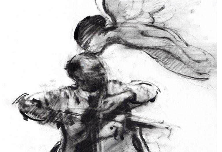 fragmento de Ángel y cellista músico cuadro pintura obra de Charles Mackesy